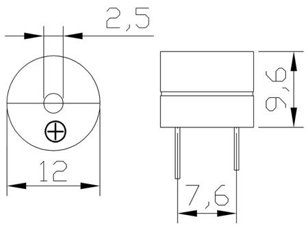 Buzzer z generatorem 5V 85db - Buzzer 12065G
