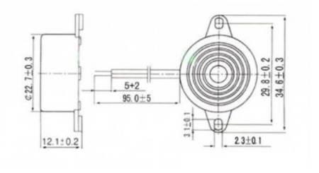 Buzzer SFM-20B 3-24V - bardzo głośny - do projektów DIY, alarmów itd.