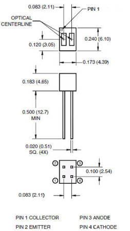 Czujnik optyczny QRD1114 - czujnik odbiciowy