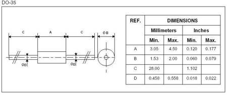 Dioda Impulsowa 1N4148 - 150mA/100V/4ns - 20 szt