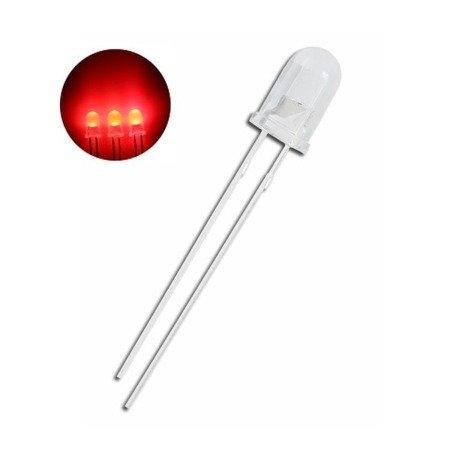 Dioda LED 5mm czerwona dyfuzyjna - mleczna 20mA - 620-625nm - 10 szt