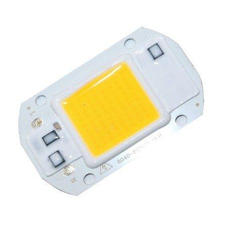 Dioda LED COB 20W - 230V - światło białe ciepłe - do halogenów i naświetlaczy