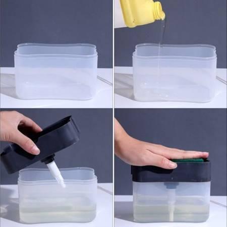 Dozownik na płyn do naczyń z gąbką - pojemnik na mydło w płynie