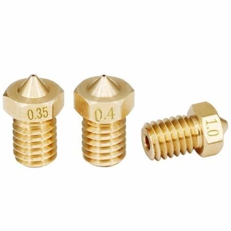 Dysza 0,4mm M6 - Filament 1,75mm - H12.5mm - mały stożek - RepRap E3D V5 V6