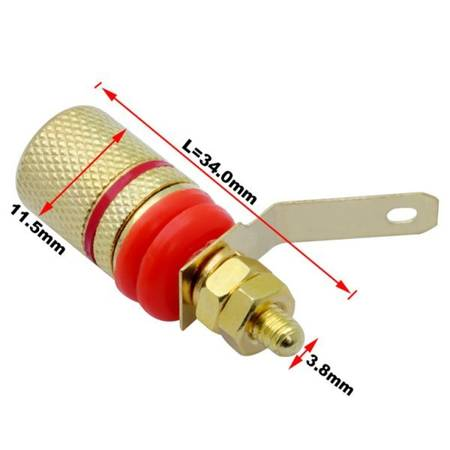 Gniazdo głośnikowe audio 4MM - bananowe złocone - Terminal audio - 1 para