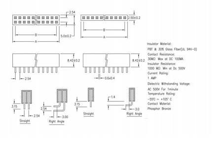 Gniazdo kołkowe 2,54mm - 20 pinów - 10 szt - żeńskie - do układów elektronicznych