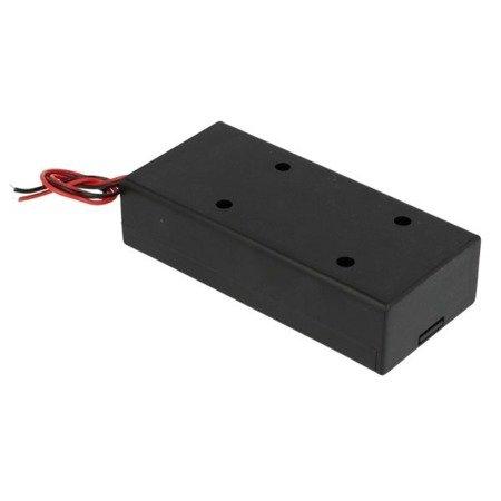 Koszyk na akumulator 2x 18650 z wyłącznikiem - koszyczek z pokrywą i przewodami