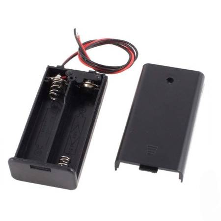 Koszyk na baterie 2xAA (R6 1.5V) z wyłącznikiem - koszyczek z pokrywą i przewodami