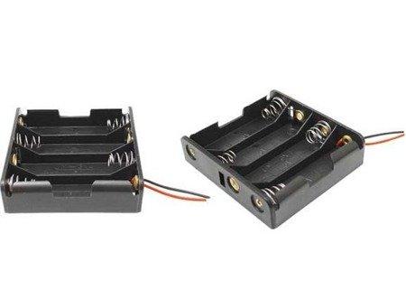 Koszyk na baterie 4xAAA 1,5V - Płaski - koszyczek na baterie z przewodami