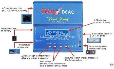 Ładowarka IMAX B6AC - 1S-6S Li-pol - zasilanie AC 230V - Balanser - uniwersalna