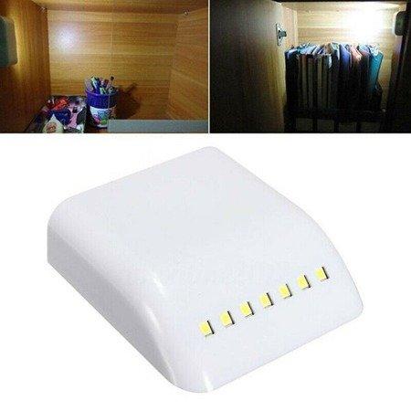 Lampka LED do szafki szafy szuflady - biała - 7LED z czujnikiem ruchu