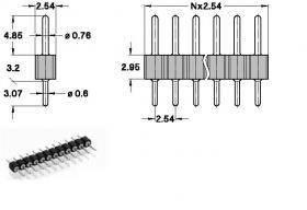 Listwa kołkowa 2,54mm - 20 pinów - 10 szt - goldpin do układów elektronicznych