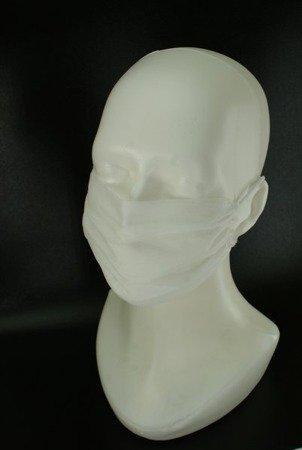 Maseczka jednorazowa z włókniny biała 2-warstwowa - ochronna na twarz