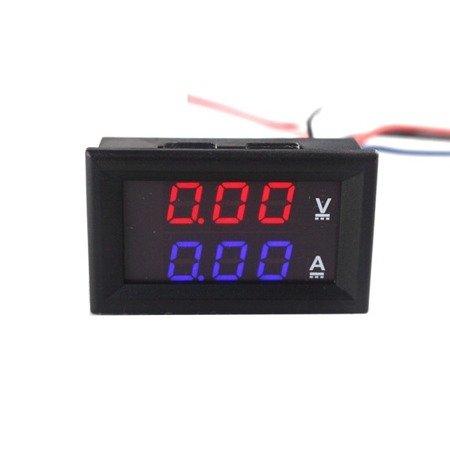 Miernik woltomierz i amperomierz 0-100V - 100A - 0.28' Red/Blue - w obudowie