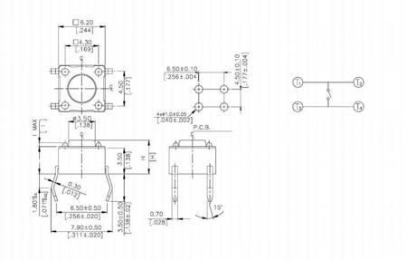 Mikrostyk TACT 6x6x13mm - mikroswitch - 10 szt
