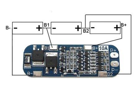 Moduł BMS PCM PCB ładowania i ochrony ogniw Li-ion - 3S - 12V - 10A - do ogniw 18650 - niebieskia płytka