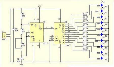 Moduł LED 'Płynące światło' - NE555+CD4017 - Zestaw KIT - Stroboskop LED - DIY