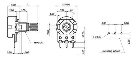Potencjometr liniowy 10K - L=15mm - 1 szt