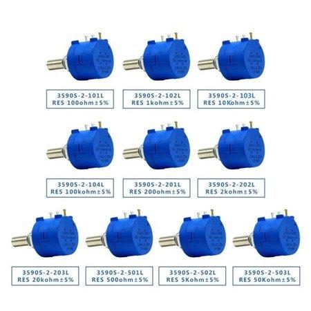 Potencjometr precyzyjny - wieloobrotowy - 100 Ohm - 2W - 3590S-2-101L