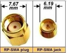Przejście - RP-SMA plug na RP-SMA jack - adapter prosty z przewodem 200mm