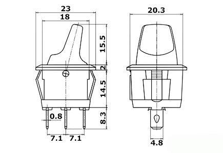 Przełącznik hebelkowy KCD1-101B niebieski - 230V - wyłącznik  3PIN
