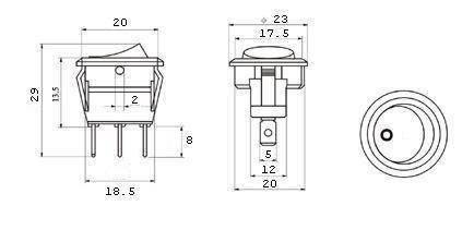 Przełącznik kołyskowy - SMRS101-6LDG - 1A/250V - okrągły - ON-OFF - czarny - dioda LED zielona