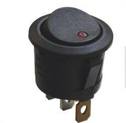 Przełącznik kołyskowy - SMRS101-6LDR - 1A/250V - okrągły - ON-OF - czarny - dioda LED czerwona
