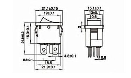 Przełącznik kołyskowy bistabilny KCD1-4 - czerwony - 15x21mm - przełącznik ON/OFF 250V - 4PIN