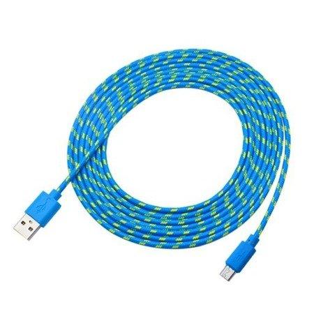 Przewód USB 200cm - nylon, pleciony - USB - Micro USB - do telefonu, aparatu, nawigacji itd.