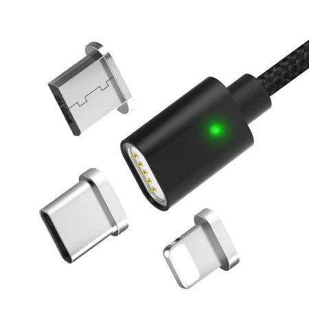 Przewód USB magnetyczny - 3 końcówki - Micro USB, USB typu C, Iphone - Nylonowy - 100cm