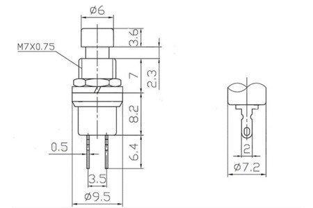 Przycisk chwilowy PBS-110 - czarny - 250V-1A / 125V-3A  - 7mm - okrągły