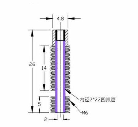 Rurka dyszy ekstrudera E3D V5 - M6 - na filament 1,75mm - Bez teflonu - Hotend do Reprap