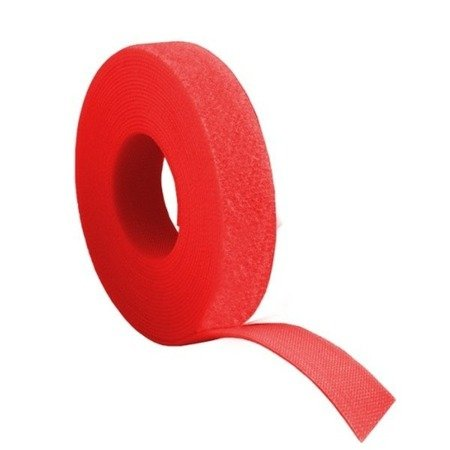 Rzep dwustronny 20mm x 1-mb czerwony - opaska mocująca - organizer kabli