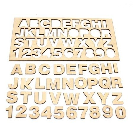 Sklejka drewniana z alfabetem i cyframi 0-9 - Formatka 300x150x3mm - literki