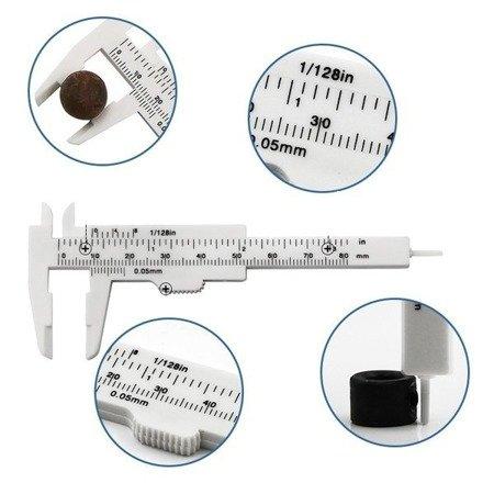 Suwmiarka plastikowa Mini 0-80 mm - biała - narzędzie do pomiaru