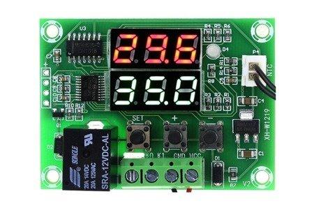 Termostat cyfrowy W1219 - regulowany -50C +110C - moduł - podwójny wyświetlacz