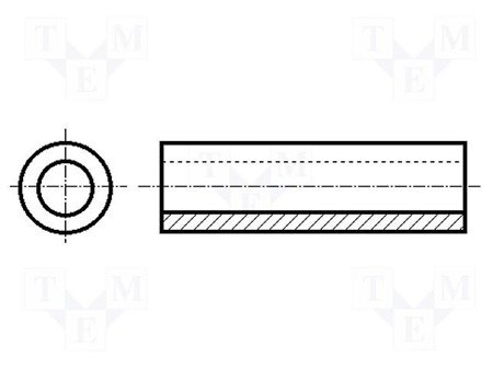 Tuleja Dystans 20mm - 10 szt - otwór 3,2mm bez gwintu - Słupek, Kolumna Poliamidowa