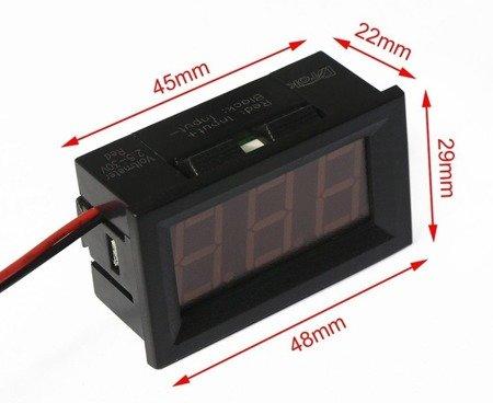 Woltomierz DC 0-100V w obudowie - 0,56' - LED czerwony