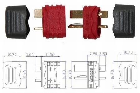 Wtyki T (DEAN) z osłoną - Konektor Dean - kompletne wysoko prądowe mini złącze - Amass