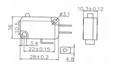Wyłącznik krańcowy KW7-0 - 230VAC - wodoodporny Mikroprzełącznik