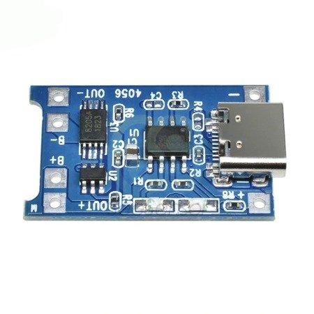 Zasilacz buforowy - Ładowarka USB Type-C - 1A - Li-pol 18650 - TP4056