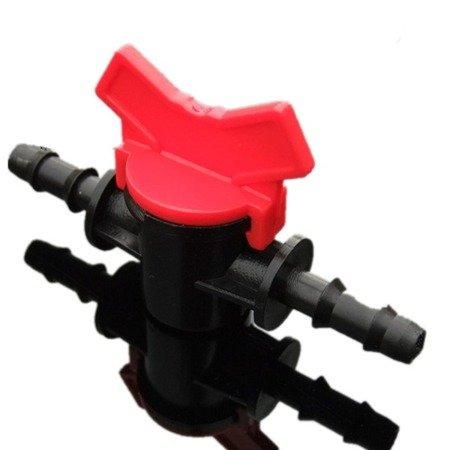 Zawór wciskany 4 mm - dwukierunkowy z regulacją przepływu - linia nawadniająca