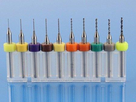 Zestaw wierteł do PCB - od 0.3mm do 1.2mm - L009W - 10szt.