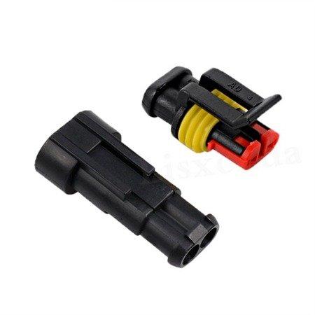 Złącze Superseal 2-PIN komplet - wtyk+gniazdo 2PIN - złącze samochodowe - hermetyczne - szczelne