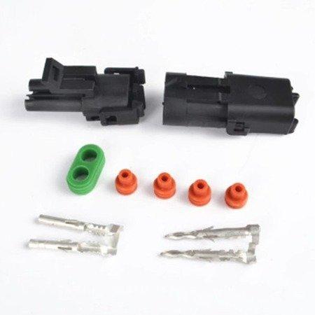 Złącze Weatherpack 2-PIN komplet - wtyk+gniazdo - złącze samochodowe - hermetyczne