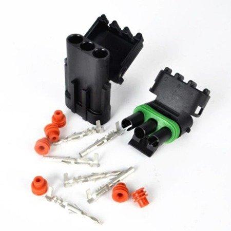 Złącze Weatherpack 3-PIN komplet - wtyk+gniazdo - złącze samochodowe - hermetyczne